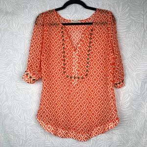 STITCH FIX moni geo print blouse studded sheer